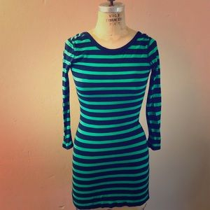 Express Striped Scoop Back Fitted Mini Dress